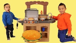 [Video] Kids Pretend Play Cooking A Giant Burger BBQ Playset Fun With CKN Toys