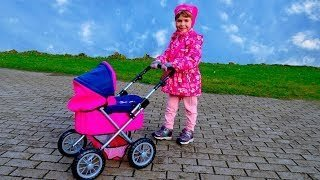 [Video] Arina wake up and Pushing Baby Alive in a Pram Toys for Girls Stroller and Doll