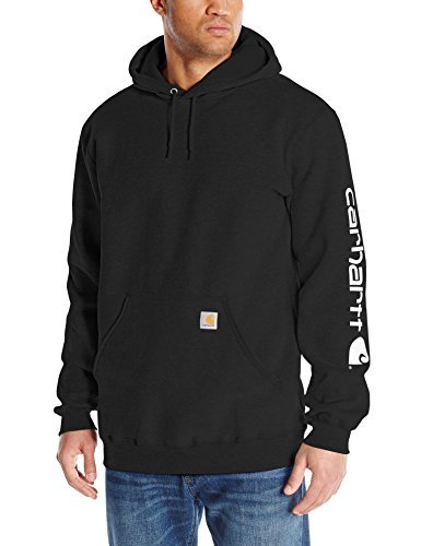 Carhartt Men's Midweight Sleeve Logo Hooded Sweatshirt (Regular and Big & Tall Sizes), Black, Small