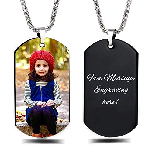 Interway Trading Personalized Custom Photo and Message Necklace Pendant Keychain Dog tag (Black Tag -Full Color Photo)