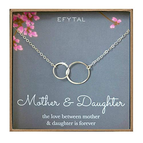 Mother Daughter Necklace – Sterling Silver Two Interlocking Infinity Double Circles, Mothers Day Jewelry Birthday Gift