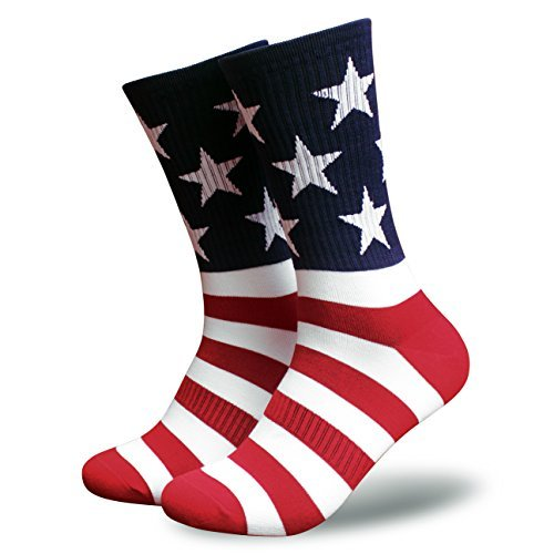 Tactical Pro Supply American Flag Socks – Patriotic USA Freedom Premium High Socks Nylon Spandex Polyester Materials -For Workouts Men Women U.S.A (Men)