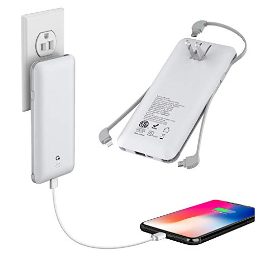 10000mAh Q Portable Charger, Ultra Slim USB C Power Bank, 4 Output Dual Input External Battery Pack with Built-in AC Wall Plug,Built in Micro and USB C Three Cables Compatible with All mobilephone