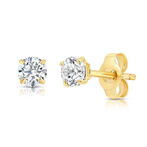 14k Yellow Gold Solitaire Round Cubic Zirconia CZ Stud Earrings with Gold butterfly Pushbacks (3mm)