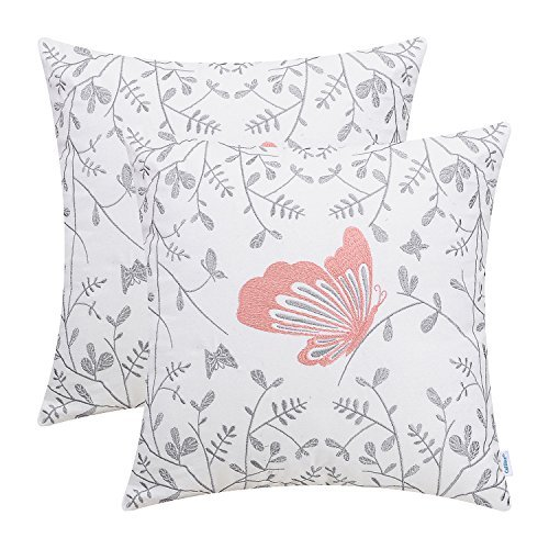 CaliTime Pack of 2 Cotton Throw Pillow Cases Covers for Bed Couch Sofa Cute Butterfly in Gray Garden Embroidered 18 X 18 Inches Coral Pink