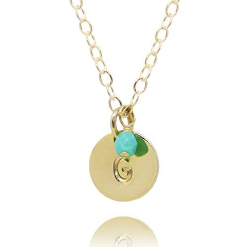 Initial Necklace, Tiny Gold Filled Personalized Custom Dainty Disc with Birth Month Charm
