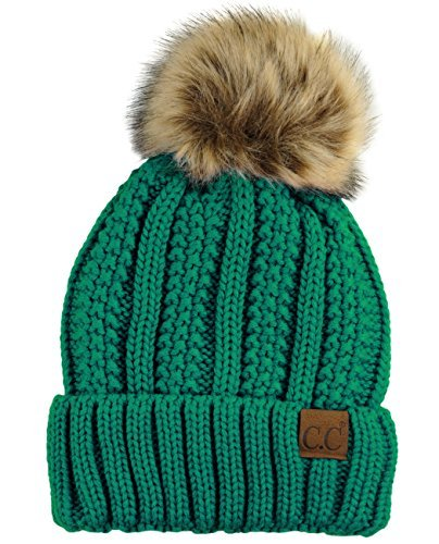 C.C Thick Cable Knit Faux Fuzzy Fur Pom Fleece Lined Skull Cap Cuff Beanie, Sea Green