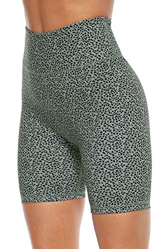 Persit Yoga Shorts for Women Spandex High Wasited Running Athletic Biker Workout Leggings Tight Fitness Gym Shorts with Pockets – Bean Green Leopard – L