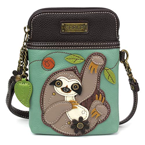 Chala Crossbody Cell Phone Purse – Women PU Leather Multicolor Handbag with Adjustable Strap – Sloth Teal