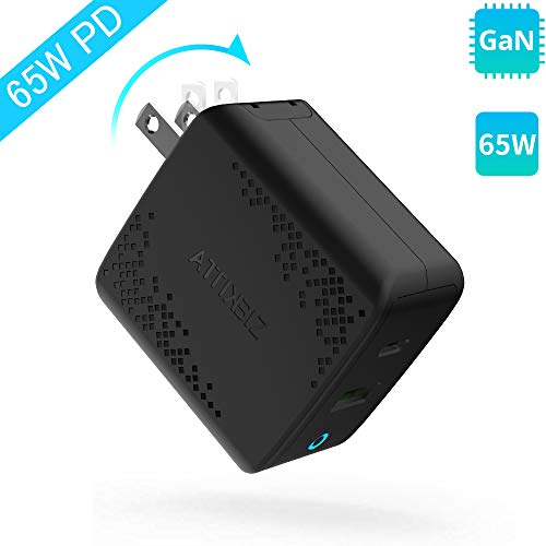 USB C Charger,Attikbiz 65W [GaN Tech] PD 3.0 Dual Port Wall Charger Fast Charging Power Delivery Foldable Adapter Compatible For MacBook Air Pro, IPad Pro,IPhone 11 Pro Max X XS,Galaxy S9 S10 And More