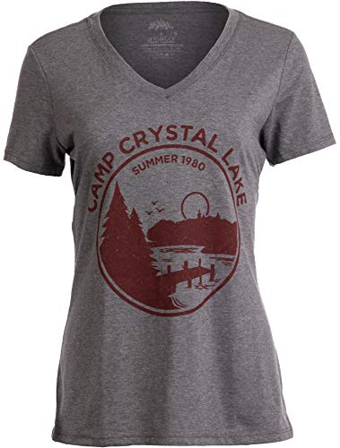 1980 Camp Crystal Lake Counselor | Funny 80s Horror Movie Fan Women Top T-Shirt-(Vneck,L)
