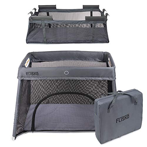 2 in 1 Travel Crib & Bassinet – Lightweight, Pack Play-Yard for Infants & Toddlers. Simple Assembly & Easily Collapsible. Portable Crib, Baby Bed. Mattress & Fitted Sheet Included