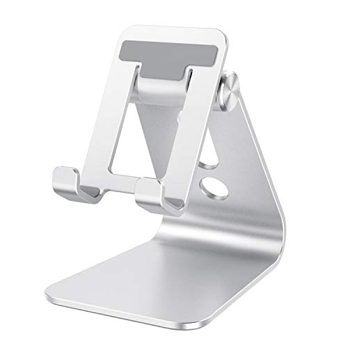 Cell Phone Stand Adjustable, OMOTON Aluminum Desktop Phone Holder Cradle Dock Compatible with All Smartphone iPhone 11 Pro Max Xs Xr X 8 7 6 6s Plus 5 5s 5c, Silver