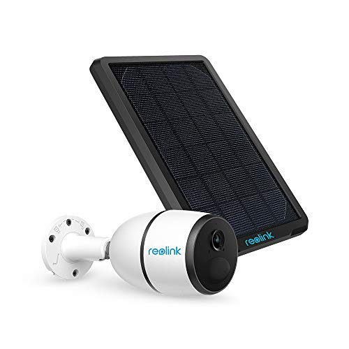 3G/4G LTE Outdoor Solar-Powered Celluar Security Camera, Wirefree Rechargeable Battery Camera System w/SD Socket and Cloud, 1080p Night Vision, 2-Way Audio, PIR Motion Sensor, Reolink Go+Solar Panel