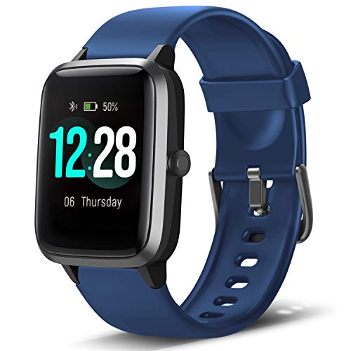 LETSCOM Smart Watch Fitness Tracker Heart Rate Monitor Step Calorie Counter Sleep Monitor Music Control IP68 Water Resistant 1.3″ Color Touch Screen Activity Tracking Pedometer for Women Men Kids
