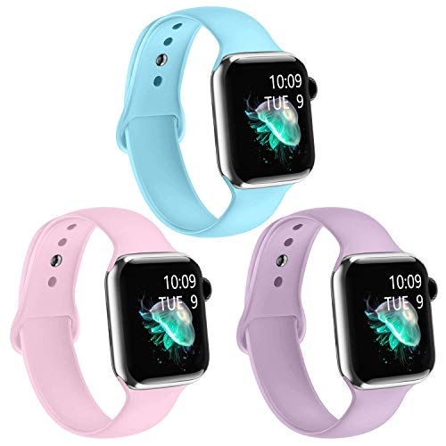 iGK 3 Pack Silicone Band Compatible with Apple Watch Series 5/4/3/2/1, Replacement Wristband for Apple Watch Strap 42mm 44mm 38mm 40mm for Women Men Light-Blue Pink Light-Plum 38/40mm Small