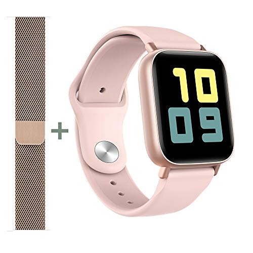 AMATAGE Smart Watch for Android Phones iPhone for Men Women, Fitness Tracker Watch with Heart Rate and Sleep Monitor, Waterproof Activity Tracker (Pink/Extra Band)
