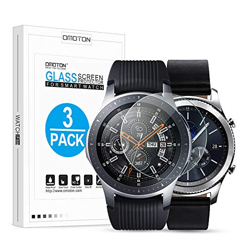 OMOTON Tempered Glass Screen Protector Compatible Samsung Gear S3 & Galaxy Watch 46mm [3 Pack]