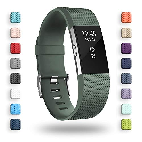 POY Replacement Bands Compatible for Fitbit Charge 2, Classic & Special Edition Adjustable Sport Wristbands (Olive Green, Large)