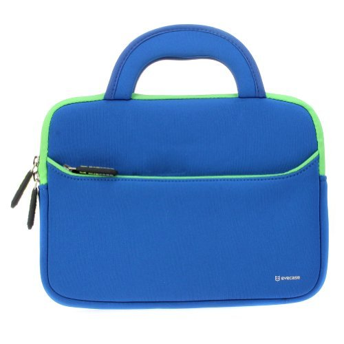 8.9-10.1 inch Tablet Sleeve, Evecase 8.9~10.1 inch Ultra-Portable Neoprene Zipper Carrying Sleeve Case Bag with Accessory Pocket – Blue/Green; for Kids Tablet 7inch / 8inch