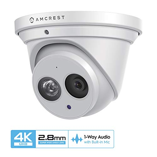 Amcrest UltraHD 4K (8MP) Outdoor Security IP Turret PoE Camera, 3840×2160, 164ft NightVision, 2.8mm Lens, IP67 Weatherproof, MicroSD Recording (128GB), White (IP8M-T2499EW)