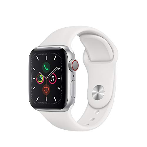 Apple Watch Series 5 (GPS + Cellular, 40mm) – Silver Aluminum Case with White Sport Band