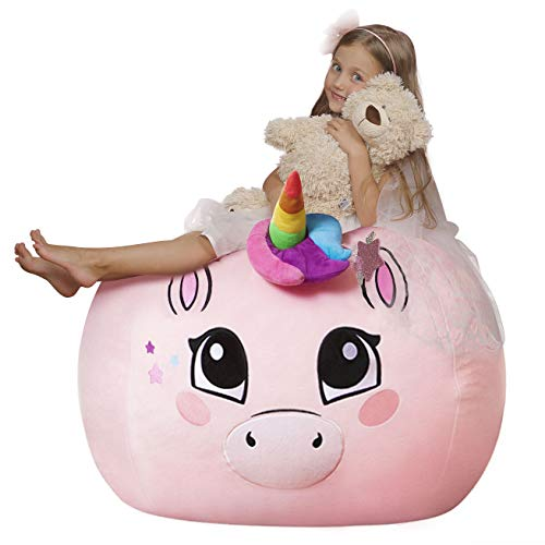 Aubliss Unicorn Stuffed Animal Storage Bean Bag Chair,Toy Storage Bean Bag for Children, Luxury Velvet Beanbag – Cover ONLY (38″ Extra Large Pink)