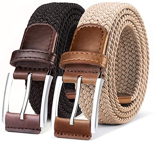Belt for Men,Woven Stretch Braided Belt 2 Unit Gift-boxed Golf Casual Belts,Width 1 3/8″