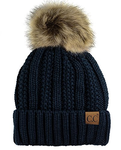 C.C Thick Cable Knit Faux Fuzzy Fur Pom Fleece Lined Skull Cap Cuff Beanie, Navy