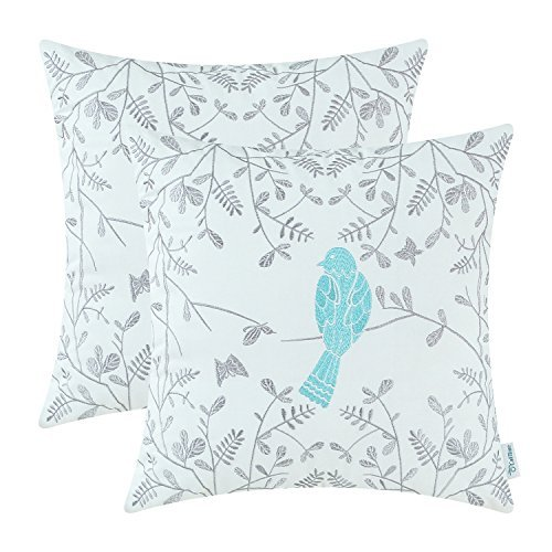 CaliTime Pack of 2 Cotton Throw Pillow Cases Covers for Bed Couch Sofa Cute Bird in Gray Garden Embroidered 16 X 16 Inches Turquoise