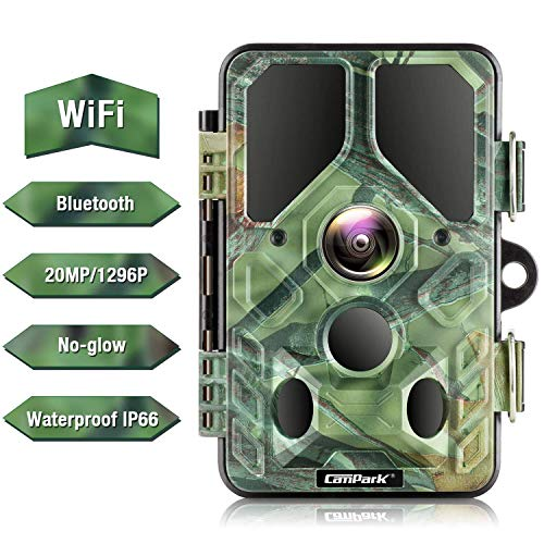 Campark WiFi Bluetooth Trail Camera 20MP 1296P Game Hunting Camera with 940nm IR LEDs No Glow Night Vision Motion Activated IP66 Waterproof for Monitoring Outdoor Wildlife Animal