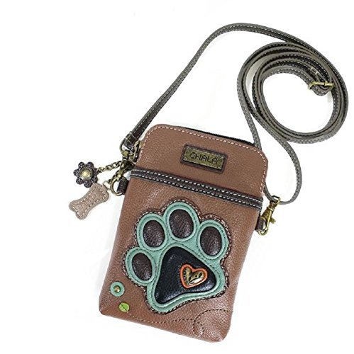 Chala Crossbody Cell Phone Purse – Women PU Leather Multicolor Handbag with Adjustable Strap – Paw Print Brown