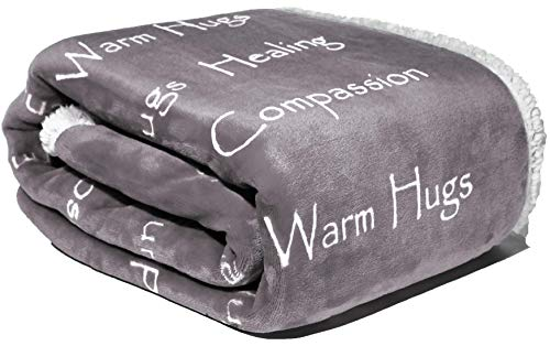 Compassion Blanket – Cancer Gift Blanket Get Well Gifts for Women Men Warm Hugs Healing Thoughts Positive Energy Courage Soft Fluffy Comfort & Caring (50 x 65 Silver Gray)