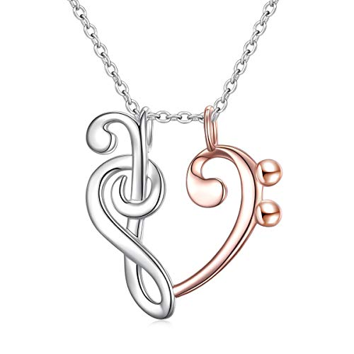 DAOCHONG 925 Sterling Silver Jewelry Treble and Bass Clef Open Heart Pendant Ring Holder Necklace Wedding Engagement Anniversary Infinity Love Gift for Her, Wife, Girlfriend, Fiancee (Musical Note)
