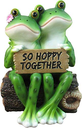 DWK – So Hoppy Frogs – Happy Frog Couple So Hoppy Together Fun Decor Figurine Valentine Romantic Statue for Home Garden Patio and Office, 6.5-inch