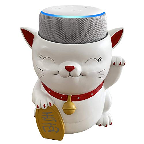 Dekodots Smart Speaker Table Stand (Waving Cat) – Decorative Holder for Amazon Echo Dot or Google Home Mini – Portable Design, No Sound or Microphone Interference – Durable Poly-Resin