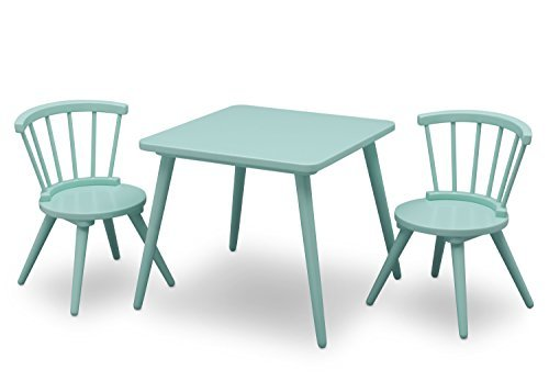 Delta Children Windsor Kids Wood Table Chair Set (2 Chairs Included) – Ideal for Arts & Crafts, Snack Time, Homeschooling, Homework & More, Aqua