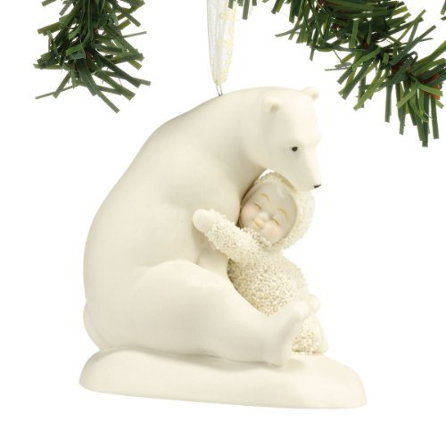 "Department 56 Snowbabies ""Big Bear Hug"" Porcelain Hanging Ornament, 3.25 Inch, Color Pillow 412"