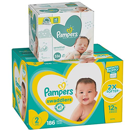 Diapers Size 2, 186 Count and Baby Wipes – Pampers Swaddlers Disposable Baby Diapers and Water Baby Wipes Sensitive Pop-Top Packs, 336 Count
