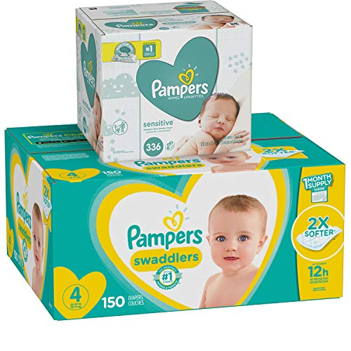 Diapers Size 4, 150 Count and Baby Wipes – Pampers Swaddlers Disposable Baby Diapers and Water Baby Wipes Sensitive Pop-Top Packs, 336 Count