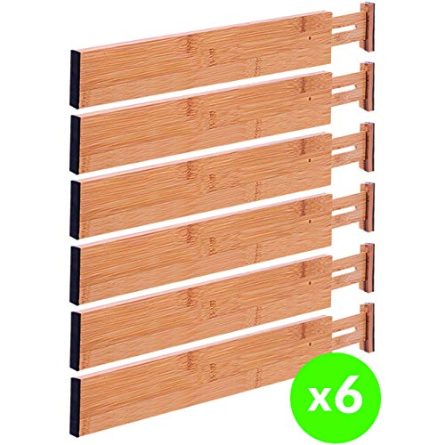 Drawer Dividers Bamboo Kitchen Organizers Set of 6 – Spring Loaded Drawer Divider Adjustable & Expandable Drawer Organizer – Best for Kitchen, Bedroom, Dresser, Baby Drawers & Closet