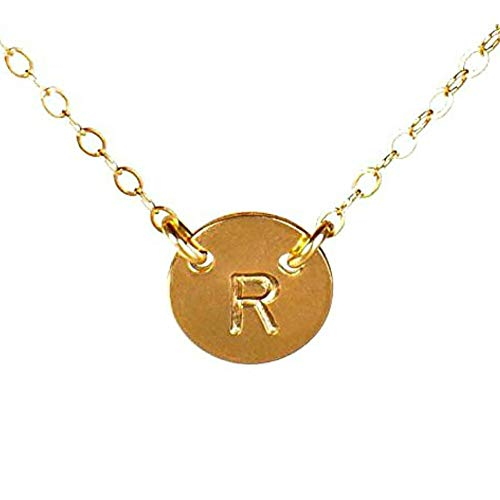 EFYTAL Initial Necklace, Tiny Gold Filled Simple Dainty 2 Hole Disc Stamped with a Letter, Small