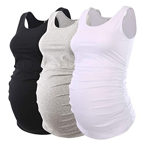 Ecavus Pack 3pcs Womens Layering Maternity Tank Top Pregnancy Shirt Scoop Neck Sleeveless Ruched Vest
