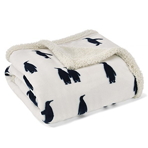 Eddie Bauer Emperor Penguin Ultra Plush Throw, 50x60in, Navy