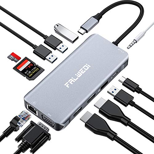 Falwedi Triple Display 12 in 1 USB C Hub with 2 HDMI & VGA, PD3.0, Ethernet, SD TF Card Reader, 4 USB Port, Mic/Audio, Type C Adapter Docking Station Compatible for MacBook Air Pro iPad and More