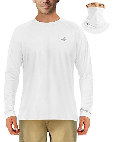 Fishing Shirts for Men Sun Protection Outdoor Long Sleeve T-Shirt Hiking UPF 50+ UV Neck Masks White