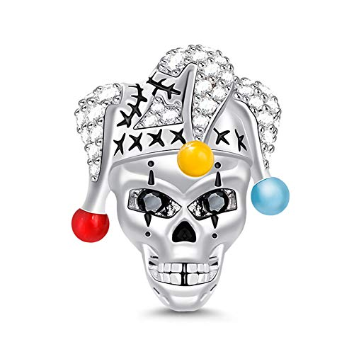 "GNOCE ""Clown Skull Skull with Clown Hat Charm Magic Mask Charm Holloween Gift 925 Sterling Silver Circus Clown Charm Joker Charm Bead Pendant for Bracelet Necklace"