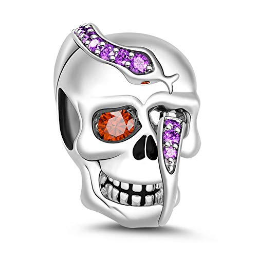 "GNOCE""Cycle Of Life"" Skull Bead 925 Sterling Silver Amethyst Snake Skull Charm Bead Pendant Fit All Major Brands Of Bracelet/Necklace Girl Women Gift"