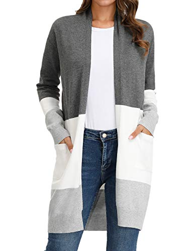 GRACE KARIN Womens Essential Solid Open Front Long Knited Cardigan Sweater Block Color-2 M