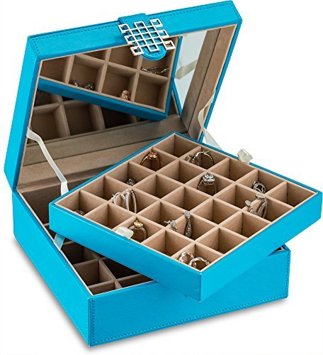 Glenor Co Classic 50-Section Jewelry Box Earring Organizer – with Large Mirror, Blue